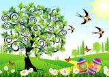 Spring landscape with Easter eggs, swallows and butterflies poster