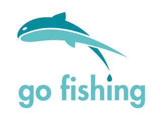Go Fishing Themed Vector Logo Design Element