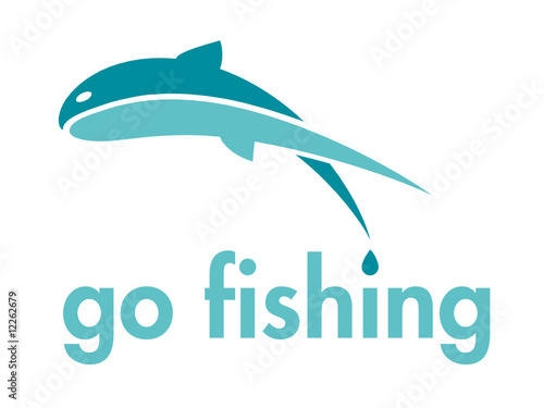 Go Fishing Themed Vector Logo Design Element
