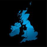 uk map blue divide poster