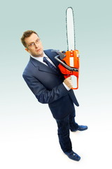 Portrait of the businessman with saw on white background