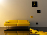 Interior - Yello velvet, sofa and time zone clock