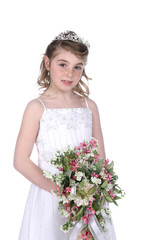 young girl holding bouquet of pink and white flowers