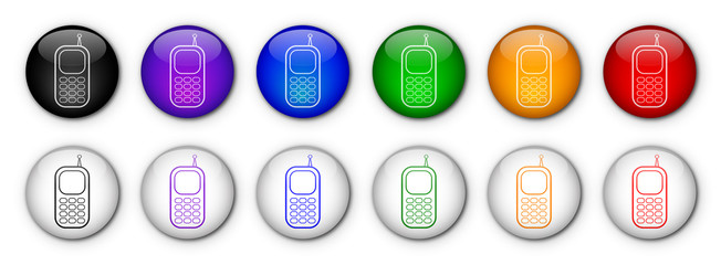 """Boutons """"Téléphone Portable"""" (x12 - Multicolores)"""