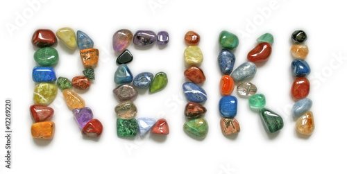 Reiki written in tumbled stones - 12269220