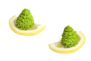 wasabi on the lemon isolated on white