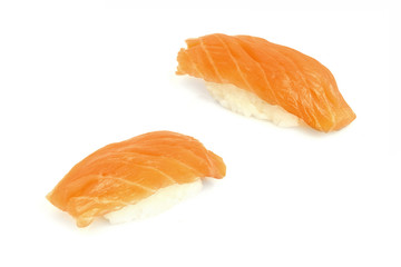 sushi are isolated on the white background
