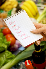 Einkauf im Supermarkt mit Einkaufszettel, deutsch