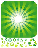 Green resource recycling background, vector layered. poster