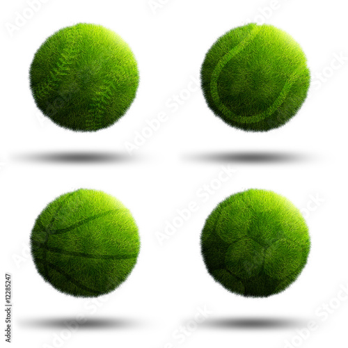Sport planets of football, baseball, tennis and basketball
