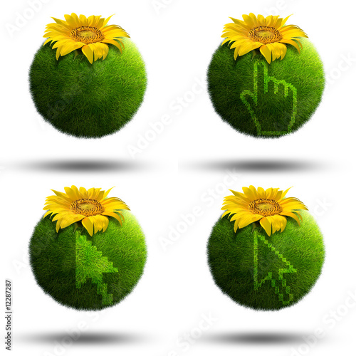 Grass planets with mouse pointers