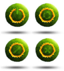 Grass planets with on/off, quit, cancel and refresh icons