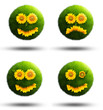 Grass planets showing their emotions with sunflowers