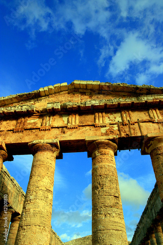 Segesta grrek temple columns on blue sky. Sicily