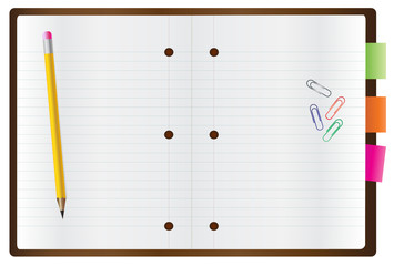 Vector of blank notepad with a pen and paper clips