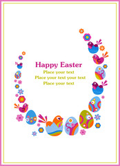 Easter greeting card with decorative tree, eggs and birds