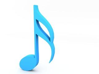 three dimensional music note