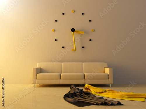Interior - Big clock on sofa