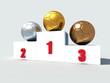 three soccer-ball on white podium -3drendering