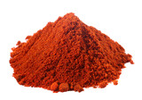 spices - pile of red paprika over white