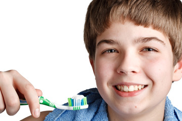 The boy with a tooth-brush.