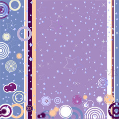 Retro grunge background with concentric circles and stars