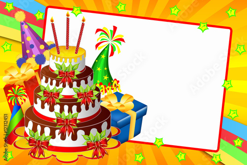 Happy birhday card with a chocolate cake, gifts and funny hats