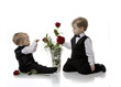 Two Boys Playing with Roses