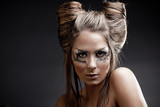 Fashion model with halloween makeup and hairstyle