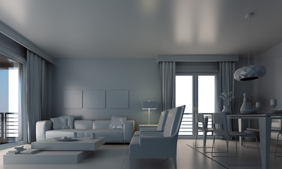 living room in grey colour