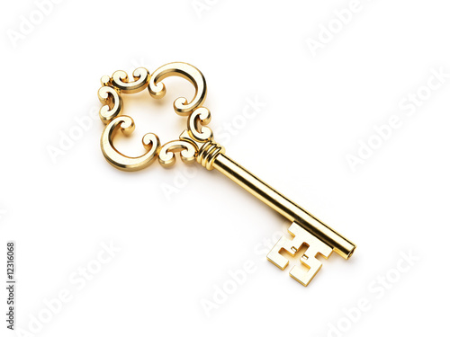 canvas print picture Golden skeleton key isolated