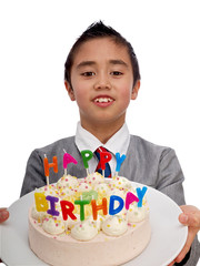 child holding a birthday cake with colorful candles