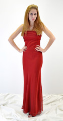 Beaiful Woman in Red Evening Gown