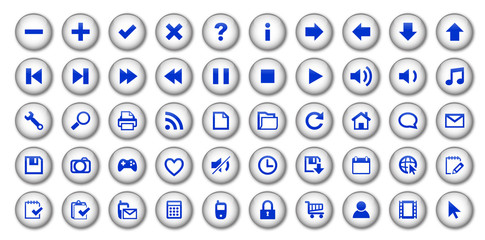 Web Buttons Poster (white/blue)