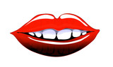 Comic style lips smiling poster