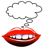 Comic style lips with blank speech bubble poster