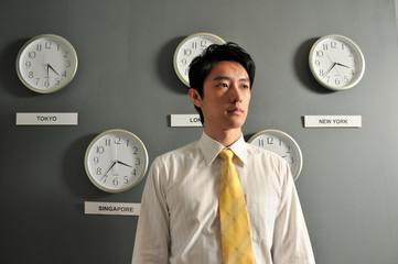 Man with International Clocks