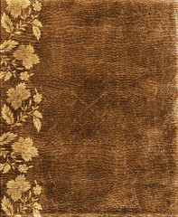 The old  relief  brown paper with flowers