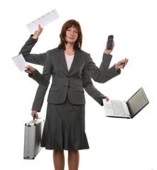 Sekretärin im Stress mit vielen Händen