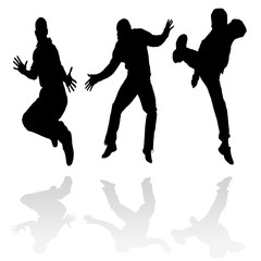 Male jumping silhouettes