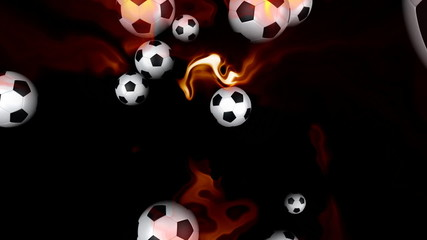 Soccer balls on fire