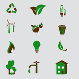 Set of Green Environment Icons poster
