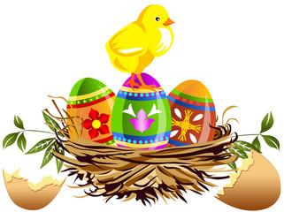 Nido con pulcino e uova di Pasqua