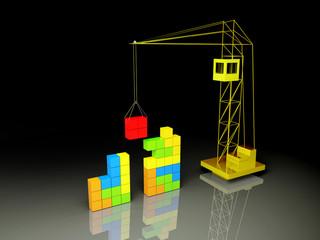 Tetris concept. Black