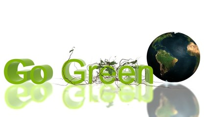 """""""Go Green"""" text with rolling Earth and growing ivy"""