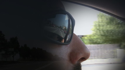 Driving,traffic reflection on the sunglasses