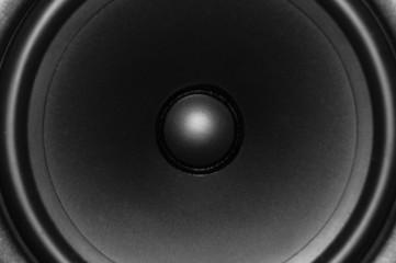 Close up of audio monitor speaker