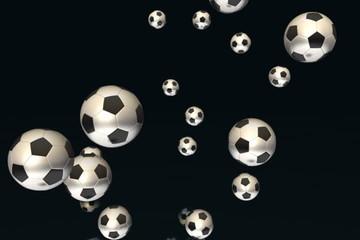Soccer balls flying