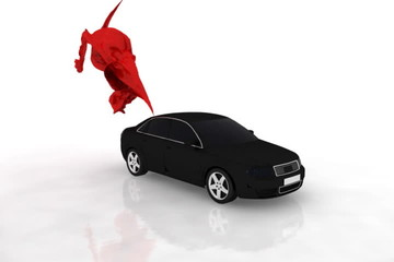 Sports car animation and red cloth flying,ground reflection