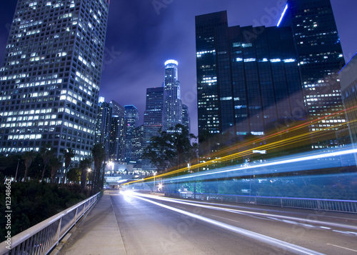 Fotobehang Los Angeles Traffic in Los Angeles with traffic seen as trails of light
